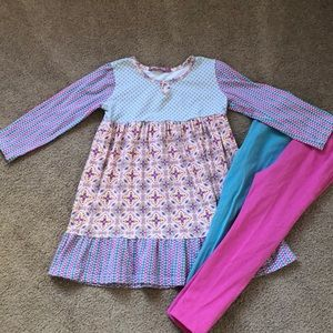 Jelly the Pug Tier Dress & matching leggings- Sz 5